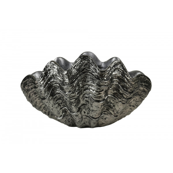 Clam Shell  Sculpture / Planter - Antique Silver