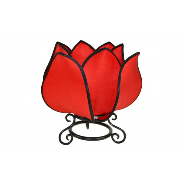 Small lotus lamp - red with black trim