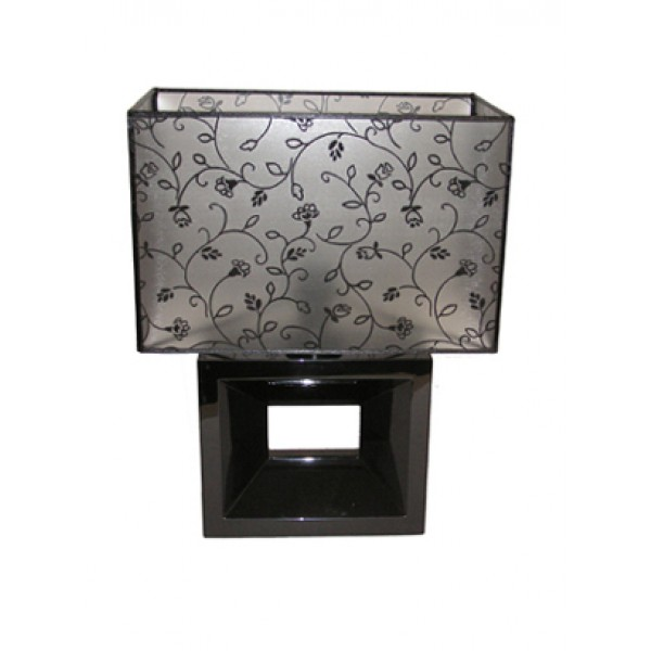 Table lamp - black base with floral black shade