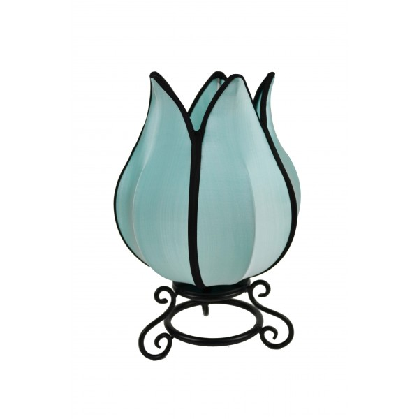 Small tulip lamp - turquoise with black trim