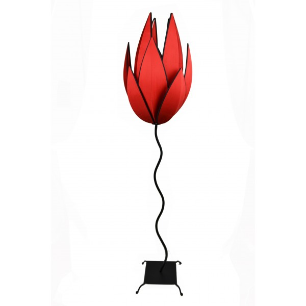 Artichoke floor lamp - red with black trim