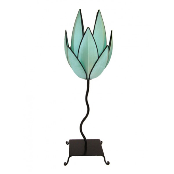 Artichoke lamp - turquoise with black trim
