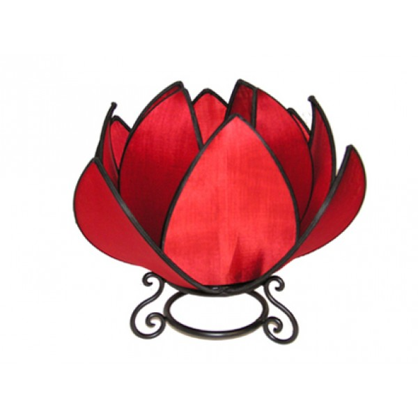 Large waterlily lamp - red with black trim