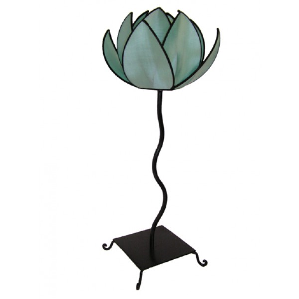 Waterlily lamp - turquoise with black trim