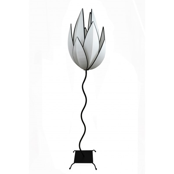 Artichoke floor lamp - white with black trim