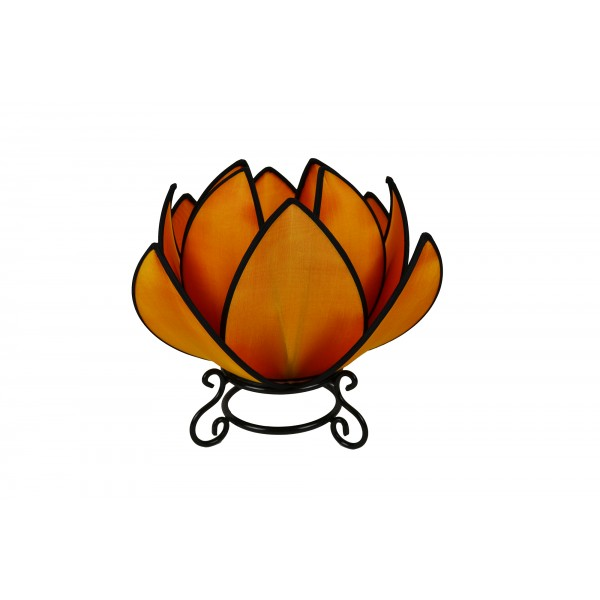 Waterlily lamp - orange with black trim