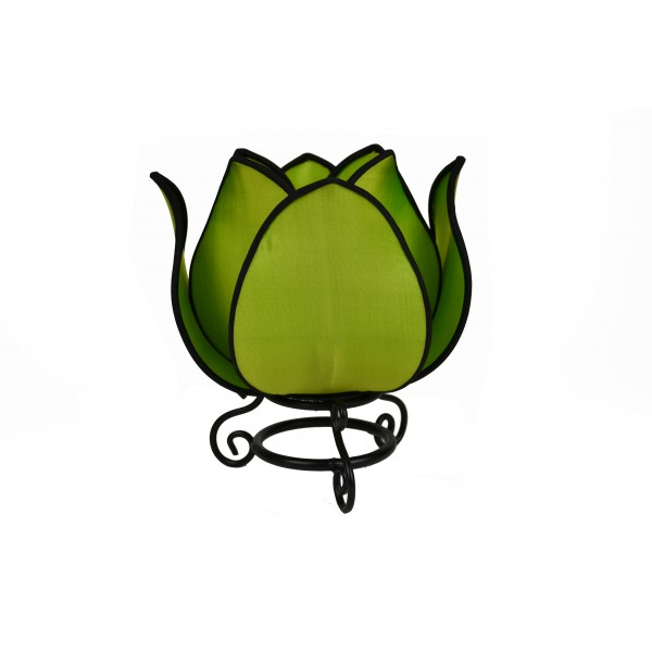 Small lotus lamp - green with black trim