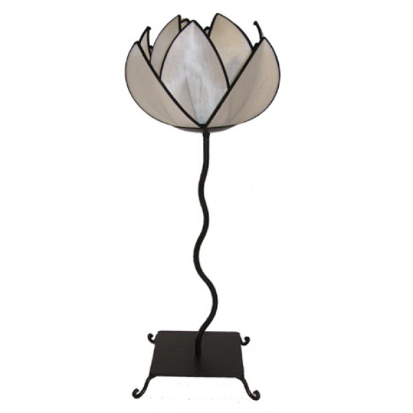Waterlily table lamp - white with black trim