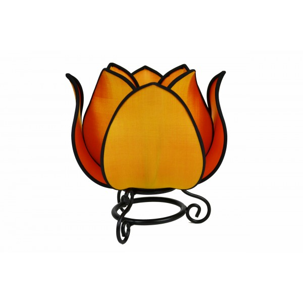 Small lotus lamp - orange with black trim