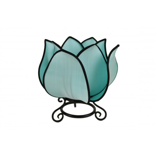 Small lotus lamp - turquoise with black trim