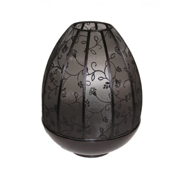 Dome lamp - black base with floral black shade