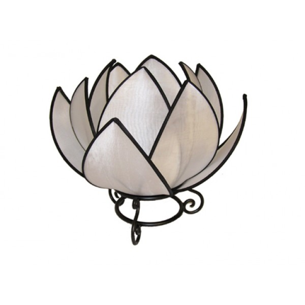 Waterlily lamp - white with black trim