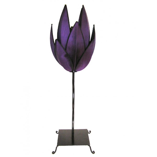 Artichoke table lamp - purple with black trim