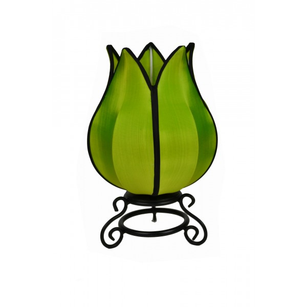 Small tulip lamp - green with black trim