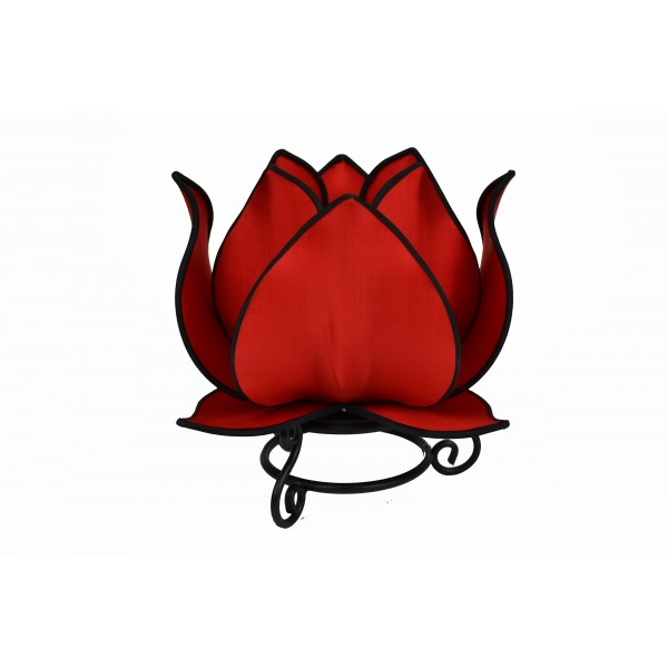 Large lotus lamp - red with black trim