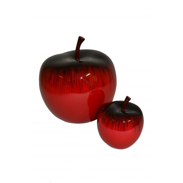 Hand painted lacquer apple sculptures - red