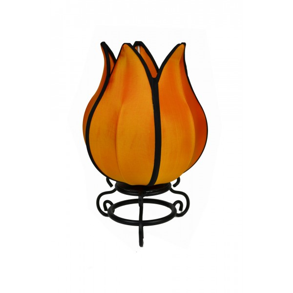 Small tulip lamp - orange with black trim