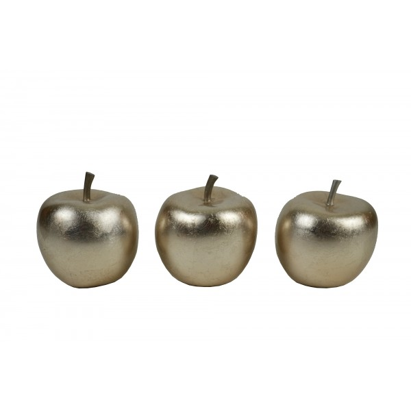 Set of three apple ornaments - Champagne