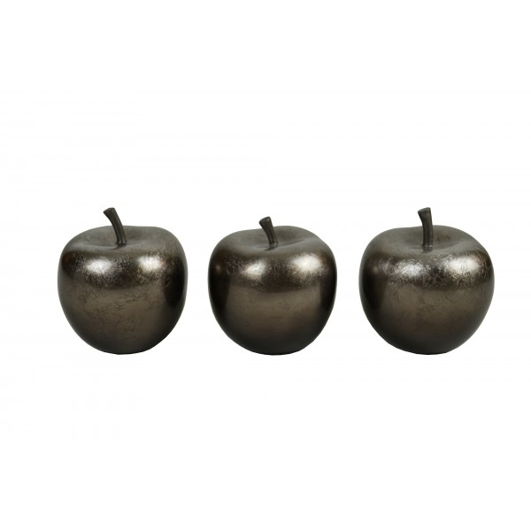 Set of three apple ornaments - Coffee