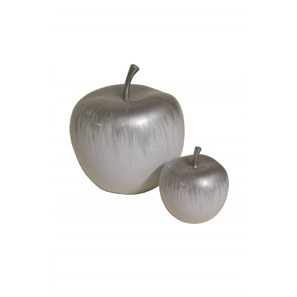 Hand painted lacquer apple sculptures - white